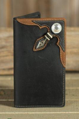 Stockyards Rawhide Leather Checkbook Wallet