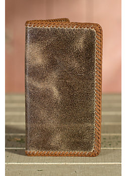 Vintage Laced Edge Leather Checkbook Wallet