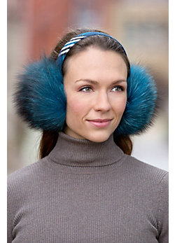 Women's Fox Fur Earmuffs with Fabric Band