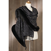 Victorian Wraps, Capes, Shawl, Capelets Iris Embroidered Wool Shawl with Fox Fur Trim BLACKCHARCOAL Size 1 Size $299.00 AT vintagedancer.com