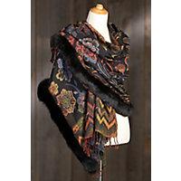 Women's Embroidered Wool Shawl With Fox Fur Trim, Black / Orange Western & Country