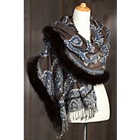 Iris Embroidered Wool Shawl with Fox Fur Trim BROWNDENIM Size 1 Size $299.00 AT vintagedancer.com