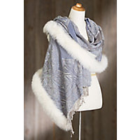 Retro Vintage Style Coats, Jackets, Fur Stoles Iris Embroidered Wool Shawl with Fox Fur Trim BLUE SKY Size 1 Size $299.00 AT vintagedancer.com