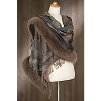 Victorian Wraps, Capes, Shawl, Capelets Iris Embroidered Wool Shawl with Fox Fur Trim MOCHA Size 1 Size $299.00 AT vintagedancer.com