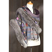 Women's Embroidered Wool Shawl With Fox Fur Trim, Purple / Grey Western & Country