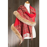 Iris Embroidered Wool Shawl with Fox Fur Trim REDHONEY Size 1 Size $299.00 AT vintagedancer.com