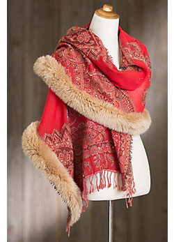 Women's Iris Embroidered Wool Shawl with Fox Fur Trim