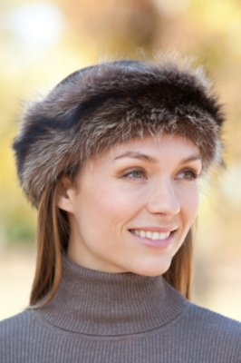 Striped Raccoon Fur Headband
