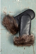 Women's Lambskin Leather Mittens with Raccoon Fur Trim