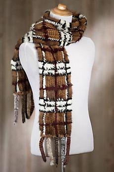 Plaid Knitted Danish Mink Fur Scarf