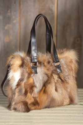 Valerie Crystal Fox Fur Tote Bag