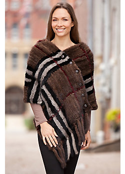 Women's Mirabelle Plaid Knitted Mink Fur Shawl