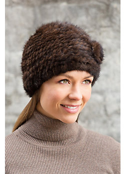 Women's Knitted Mink Fur Hat with Flower