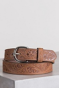 Men's Western Scroll Leather Belt