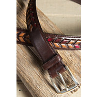 "Fallbrook Laced 1 3 / 8"" Leather Belt, Brown / Multi, Size 34 Western & Country"