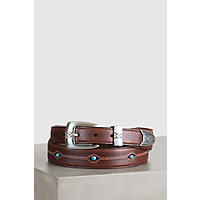 Cody Turquoise Tapered Leather Belt, BROWN, Size 44