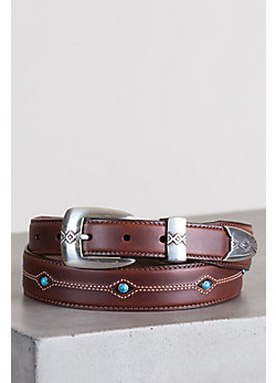 Cody Turquoise Taper Leather Belt