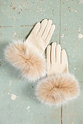 Women's Lambskin Gloves with Cashmere Lining and Fox Fur Trim