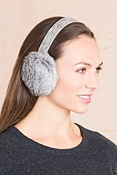 Women's Rabbit Fur Earmuffs with Oak Print Leather Band