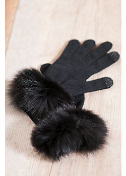 Women's Knit Touch Tech Gloves with Fox Fur