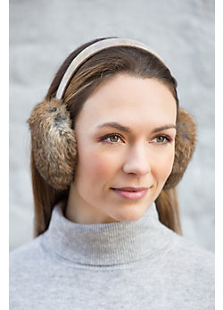 Women's Rabbit Fur Earmuffs with Leather Band