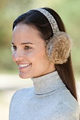 Women's Rabbit Fur Earmuffs with Printed Leather Band