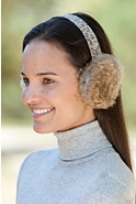 Rabbit Fur Earmuffs with Printed Leather Band
