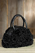 Women's Lace and Rabbit Fur Rosette Handbag