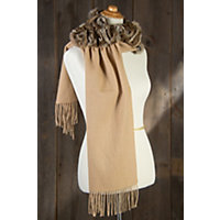 Women's Wool Shawl With Rex Rabbit Fur Rosettes Western & Country