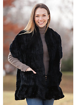 Women's Knitted Rex Rabbit Fur Wrap with Frills