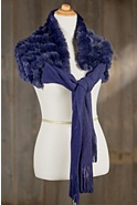Women's Knit Shawl with Rex Rabbit Fur