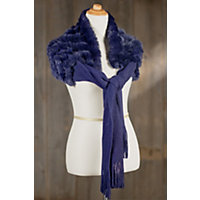 Women's Knit Shawl With Rex Rabbit Fur Western & Country