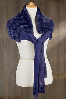 Knit Shawl with Rex Rabbit Fur