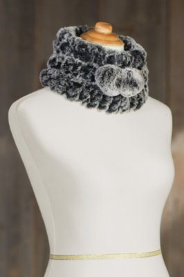 Knitted Rex Rabbit Fur Convertible Hat and Neck Warmer