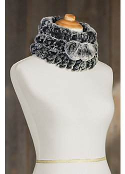 Women's Rex Rabbit Knitted Fur 2-Tone Convertible Hat /Neck Warmer