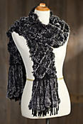 Women's Knitted Lattice Rex Rabbit Fur Shawl