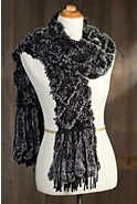 Knitted Lattice Rex Rabbit Fur Shawl