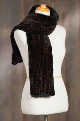 Two-Tone Knitted Rex Rabbit Fur Scarf