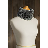 Knitted Rex Rabbit Fur Convertible Neck Warmer and Headband BLACK SNOWTOP Size 1 Size $59.00 AT vintagedancer.com