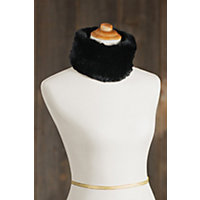Knitted Rex Rabbit Fur Convertible Neck Warmer and Headband BLACK Size 1 Size $59.00 AT vintagedancer.com