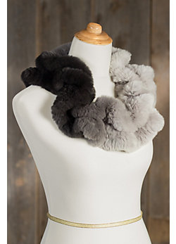 Knitted Rabbit Fur Ruffle Infinity Scarf