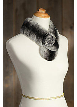 Women's Rex Rabbit Fur Scarf with Fur Rosette