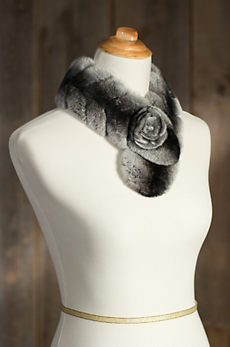 Rex Rabbit Fur Scarf with Rosette