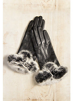 Women's Dents Amelia Leather Gloves with Rabbit Fur Trim