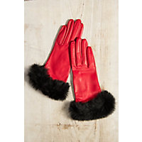 Vintage Style Gloves Womens Dents Glamis Silk-Lined Leather Gloves with Rabbit Fur Trim MOCCABROWN Size 8 $169.00 AT vintagedancer.com