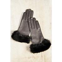 Vintage Style Gloves Womens Dents Glamis Silk-Lined Leather Gloves with Rabbit Fur Trim CHARCOALBLACK Size 8 $169.00 AT vintagedancer.com