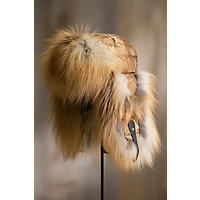 Gold Camo Down Filled Trapper Hat with Red Fox Fur Trim