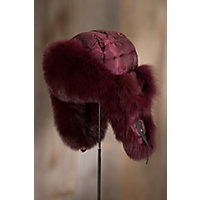 Burgundy Camo Down Filled Trapper Hat with Blue Fox Fur Trim