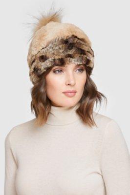 Women's Stretch Rex Rabbit Fur Hat with Raccoon Fur Pom