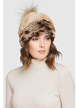 Women's Stretch Rex Rabbit Fur Hat with Raccoon Fur Pom